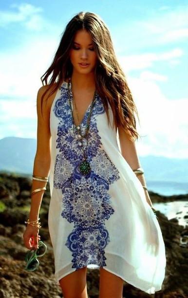 dress blue print v neck vacation dress sundress print