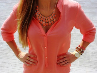 summer outfits shirt fluo sea orange see through transparent top transparetn shop coral coral shirt blouse coral shirt blouse
