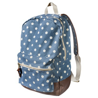Mossimo supply co. denim polka dot backpack