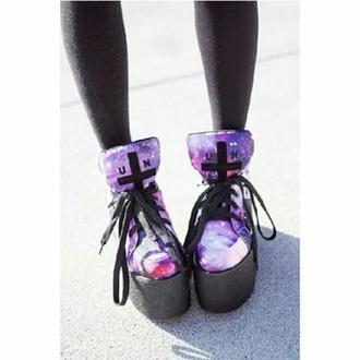 shoes goth shoes purple shoes cross goth cute