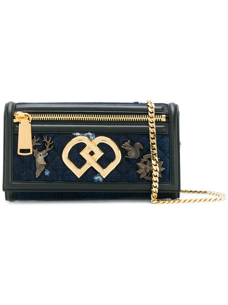 Dsquared2 women embellished clutch leather cotton blue bag