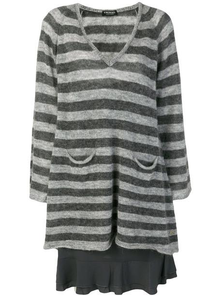 Twin-Set dress knitted dress women mohair wool grey