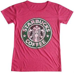 Women youth top shirt starbucks coffee casual soft cotton free sz vintage print