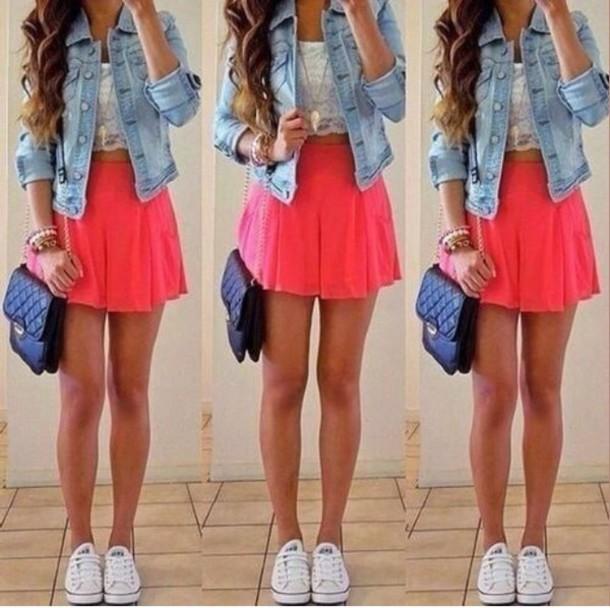 skirt coral short jacket