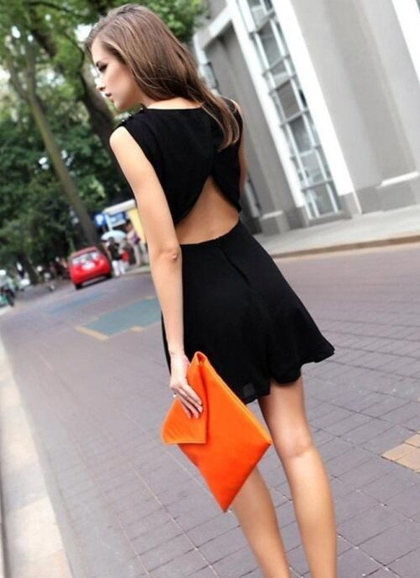 dress prom dress prom dress little black dress cute dress beatufiul black scallop edges petite robe noire black dress orange