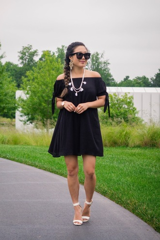 gracefullee made blogger dress jewels sunglasses shoes make-up