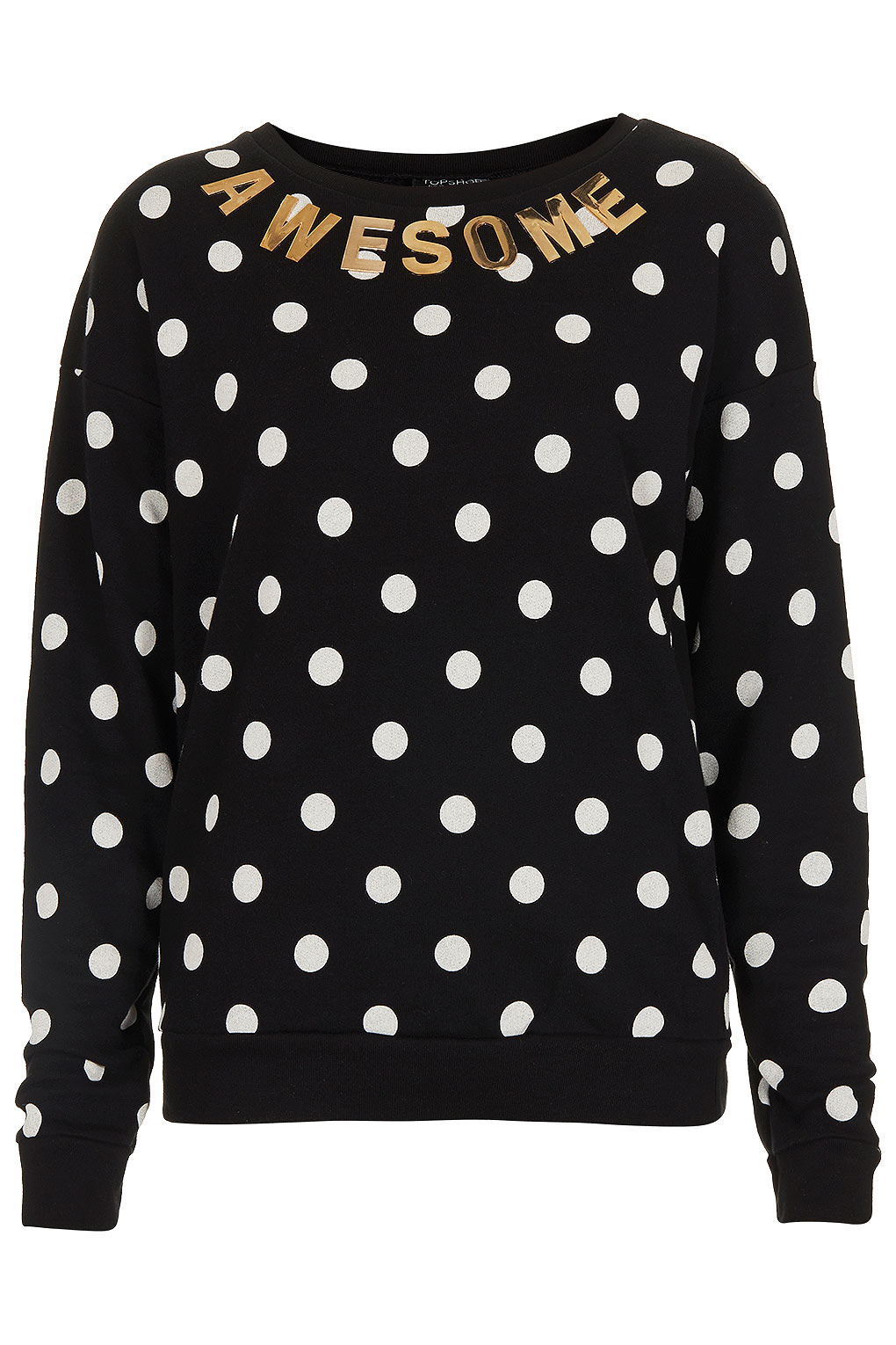 Topshop Black Gold Spotty Spot Jumper Awesome Sweater BNWT Letter UK 8 12 14 16 | eBay