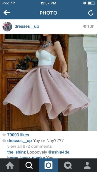 pink white skirt nude pink dress