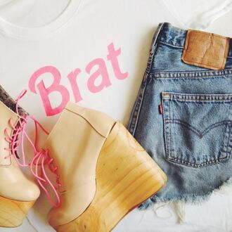 shoes pink wooden wedges barbie shoes