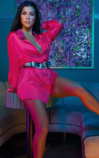 dress shirt dress kourtney kardashian pink dress pink shirt belt mini dress