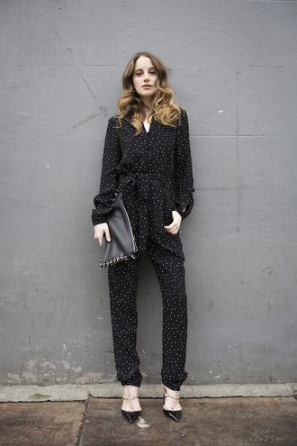 at fashion forte blogger coat jumpsuit bag shoes