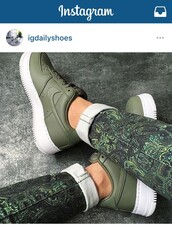 shoes,nikelab air force,army green,leather,green