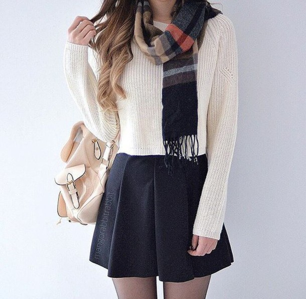 skirt, black, white, sweater, cropped, outfit, top, shirt