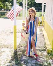 shoes,dresss,summer dress,sandals,red sandals,ha,hat,bag,summer outfits