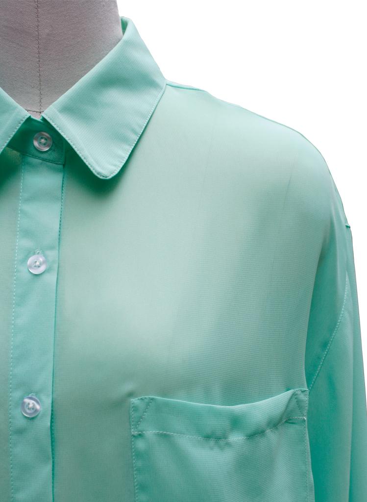 New Women Sheer Chiffon Boyfriend Oversize Button Up Long Sle Shirt Top Blouse | eBay