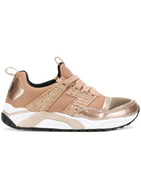 Ea7 Emporio Armani - metallic panelled sneakers - women - Synthetic Resin/Polyester/rubber - 36, Nude/Neutrals, Synthetic Resin/Polyester/rubber