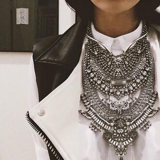 jewels silver diamonds necklace