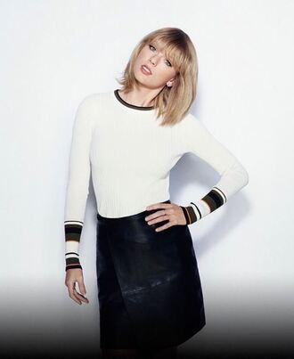 sweater skirt mini skirt taylor swift long sleeves