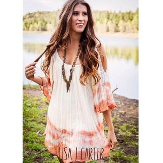 coral coral dress dress fashion pink dress white white dress boho boho chic boho dress pink flowy free people urban outfitters soft grunge soft