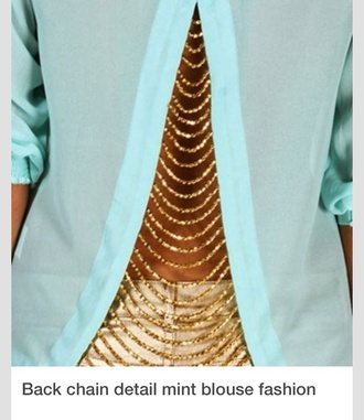 blouse gold chain back mint