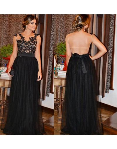 Transparent long black lace dress evening prom homecoming dresses