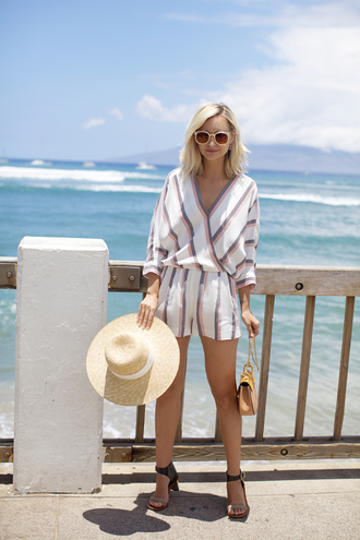 late afternoon blogger jumpsuit hat shoes bag sunglasses