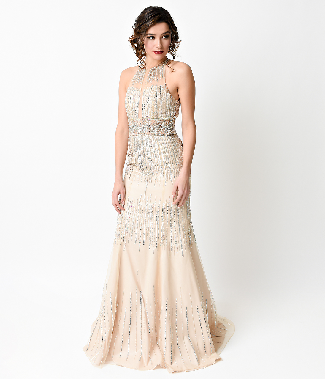 1930s Style Champagne Halter Beaded Tulle Illusion Evening Gown