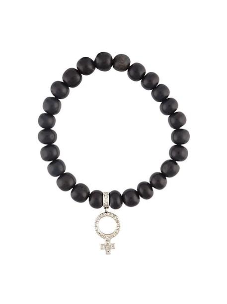 Loree Rodkin wood women beaded charm bracelet gold white black jewels