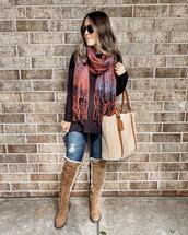 mrscasual,blogger,shoes,scarf,bag,sunglasses,jeans,fall outfits,shearling bag,shearling boots