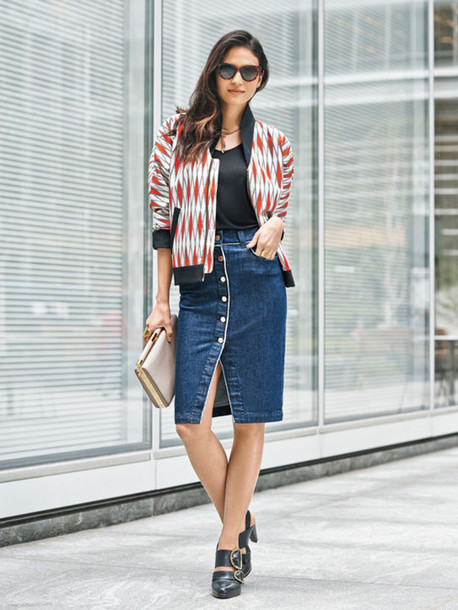 Skirt: denim slit skirt, slit skirt, denim skirt, midi skirt ...