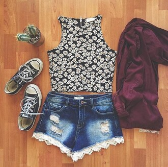 top floral daisy floral top shorts denim shorts denim shirt summer ripped shorts cute outfits crop tops