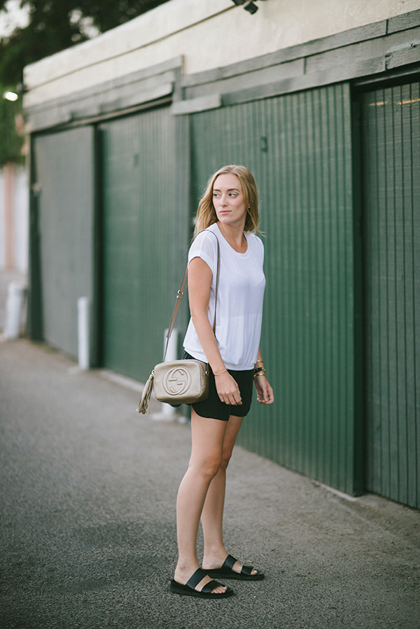 eat sleep wear blogger top bag jewels leather shorts