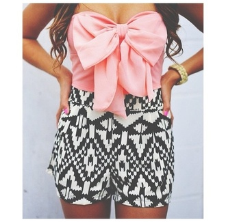shorts tribal pattern aztec cute summer girly black and white shirt strapless top pink bow jumpsuit