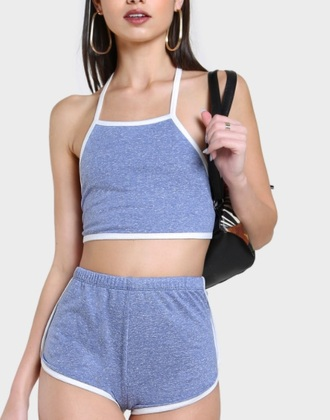 romper girly grey white two-piece crop tops crop cropped shorts