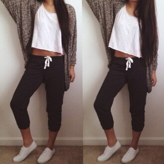 pajamas cardigan white shirt pants sneakers