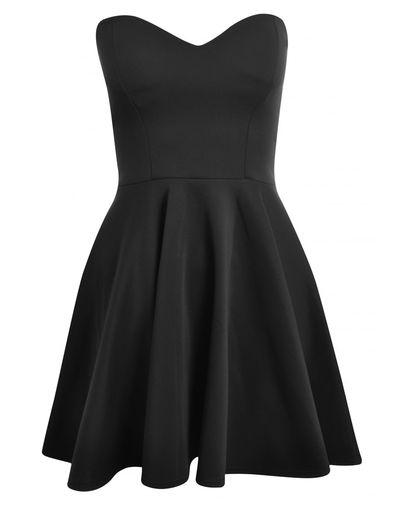 Black Boob Tube Flare Dress