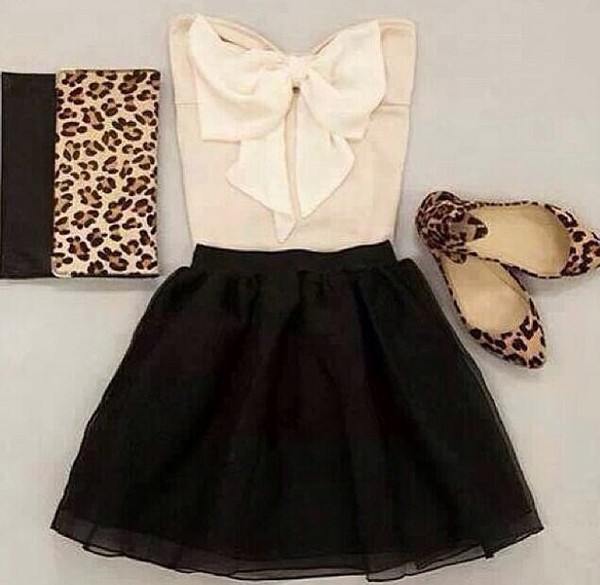 skirt bows white shirt black skirt shirt bag shoes blouse dress beige creme black print leopard print leo clutch