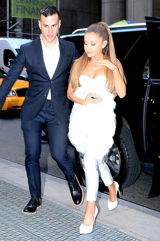 top pants ariana grande white pumps shoes