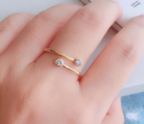Dainty Wrap Ring - Double Wrap Ring - Minimal Ring - Silver Tiny Ring - Adjustable Wrap Ring with Cubic Zirconia Stones - Simple Gifts