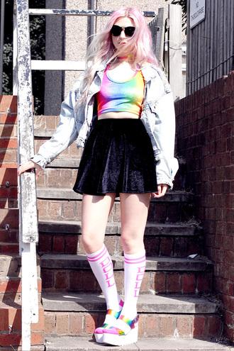 kayla hadlington blogger socks velvet skirt mini skirt rainbow denim jacket
