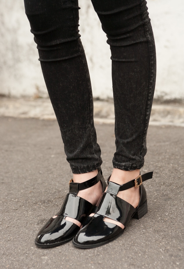 Black Patent Cutout Shoes