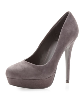 Kelsi Dagger Lizzy Suede Pump, Gray - Neiman Marcus Last Call
