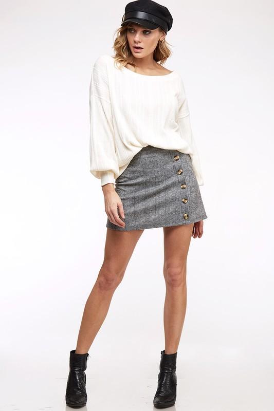 Heather Grey Button Trim Plaid Mini Skirt