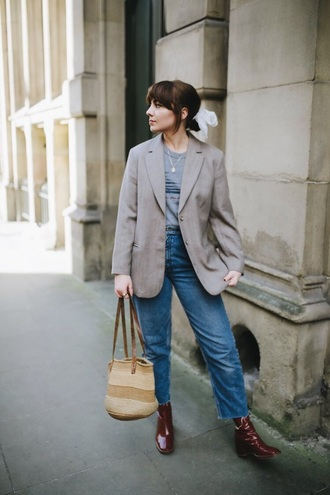 shoes boots red boots blazer grey blazer bag jeans denim blue jeans hair accessory
