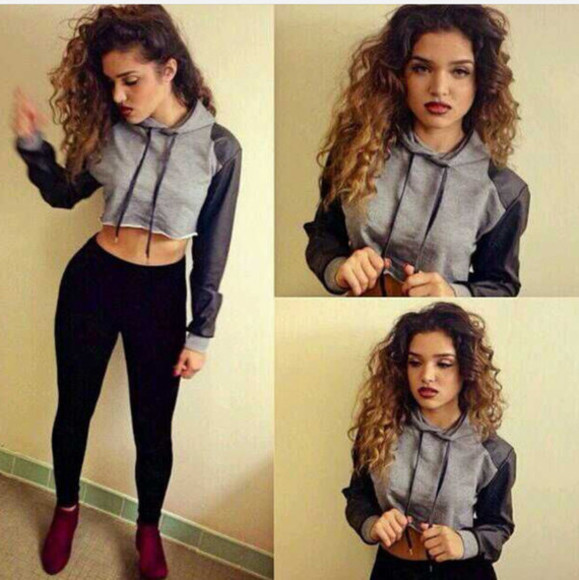 pullover hoodie crop cropped sweater stylish