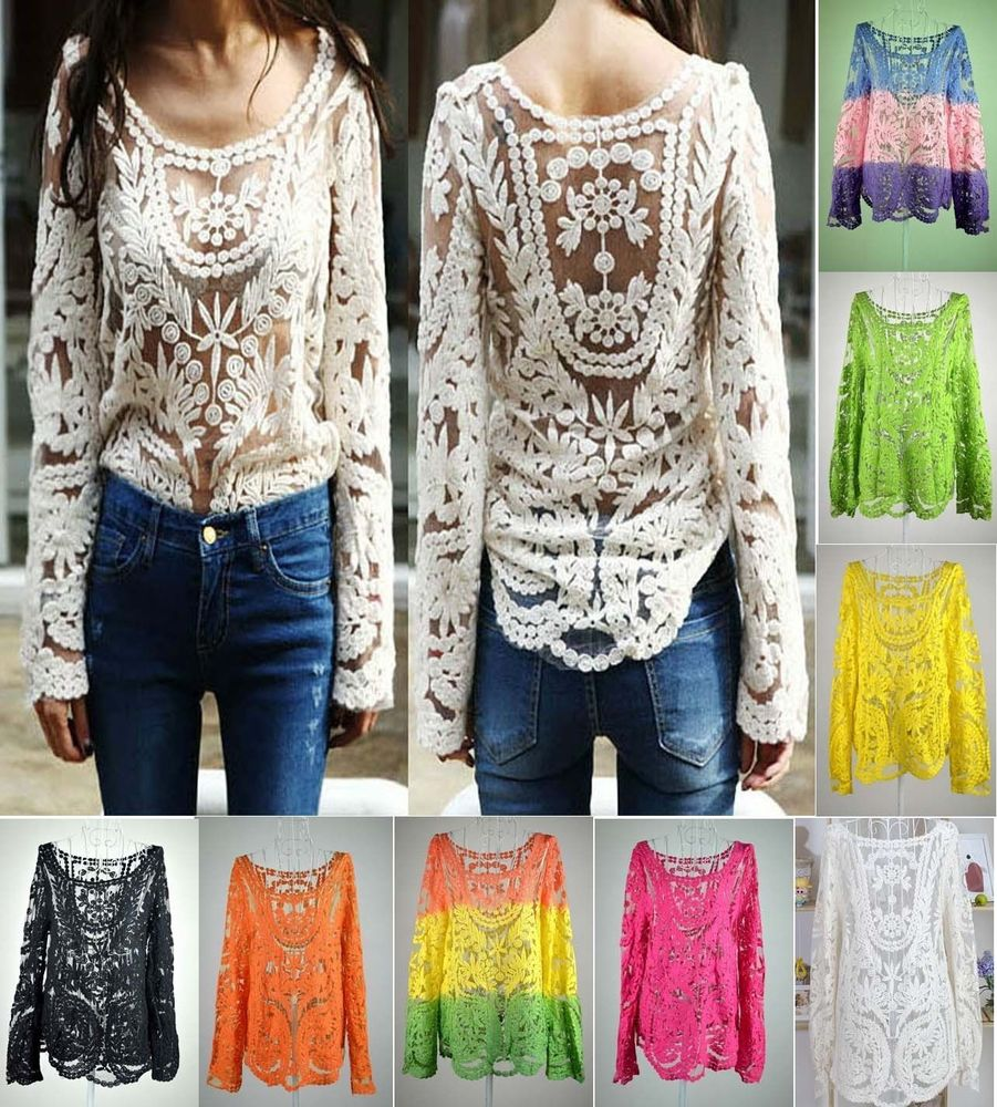 Semi Sleeve Sheer Embroidery Floral Lace Crochet T-Shirt Tops ...