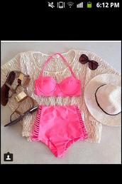 swimwear,shirt,pink bikini,high waisted bikini