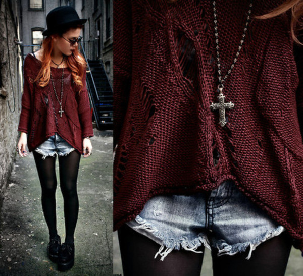sweater tear sweater beautiful girly cut off shorts shorts cross jewelry creepers hat jewels