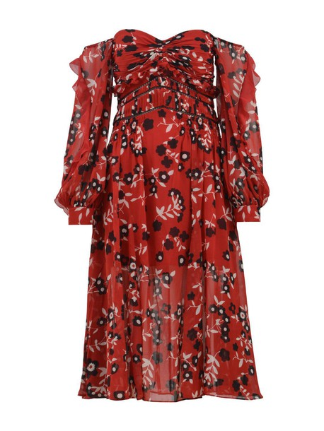 self-portrait dress midi dress midi floral red