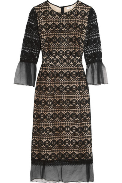Vilshenko - Ally Cotton Gauze-trimmed Lace Dress - Black